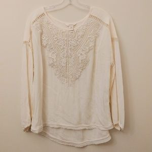 Sundance White Bib Lace Knit Top Blouse